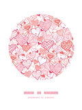 Romantic doodle hearts circle decor pattern Stock Photos