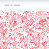 Romantic doodle hearts horizontal torn seamless Royalty Free Stock Photography