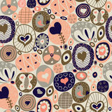 Romantic doodle hearts seamless. Holiday background Stock Photos