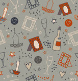 Romantic doodle seamless background with photo frames, candles, hearts, stars, goblets and bottles of vine. Endless hand drawn lac Royalty Free Stock Images