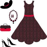 Romantic dress, necklace, shoe and handbag Stock Photos