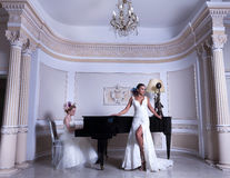 Romantic Duet. Lovely brides in a hotel room having a large flowers bun hair Royalty Free Stock Photography