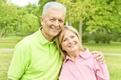 Romantic elderly couple. Romentic elderly couple in the park royalty free stock photo