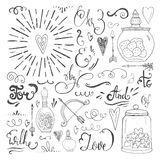 Romantic elements. Romantic vector elements. Hand drawn typography, sketched jars and hearts and other objects for valentines card, save the date or wedding card Royalty Free Stock Photo