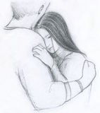 Romantic embrace. A romantic couple hug hand drawn with grey pencil royalty free illustration