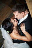 Romantic embrace bride and groom. On wedding day Stock Images