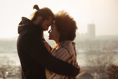 Romantic embracing loving couple. Falling in love Royalty Free Stock Image