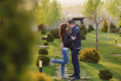 Romantic Embrance in Garden Stock Photo