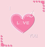 Romantic embroidered heart Royalty Free Stock Images