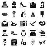 Romantic entertainment icons set, simple style. Romantic entertainment icons set. Simple set of 25 romantic entertainment vector icons for web isolated on white Stock Photos