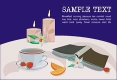 Romantic evening. Vector drawing of the cup of tea, book, orchid flower, fruits and orchid blossom in the candlelight Stock Photos