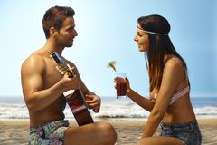 Romantic evening on the beach Royalty Free Stock Images