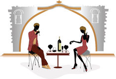 Romantic evening in the cafe. Romantic dinner for a young couple in love in cafe Royalty Free Stock Photos