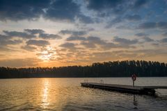 Romantic evening at lake Stock Photo
