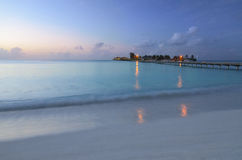 Romantic evening in the Maldives. Landscape Royalty Free Stock Images