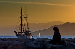 Romantic evening in marina of Eilat, Israel Royalty Free Stock Photo