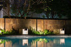 Romantic evening mood lighting casting shadows onto a romantic s. Etting near the pool.  This luxury home has some of the best landscaped gardens and tropical Stock Photos
