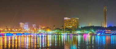 The evening walk along Nile river in Cairo, Egypt royalty free stock photography