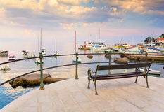 Romantic evening at promenade in Opatija, Istria, Kvarner, Croatia Stock Image