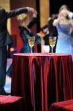 Romantic evening in restaurant stock photos