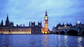 Romantic evening shot of Westminster Bridge and Big Ben. LONDON, ENGLAND stock video footage