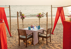 Romantic Evening Table Sunset Stock Images