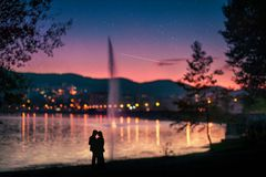 Romantic evening in Tirana. Royalty Free Stock Photos