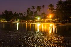 Romantic Evening on a tropical island with night illumination. Stock Image