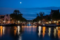 romantic evening view - amsterdam stock images