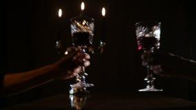 Romantic evening with wine. stock video