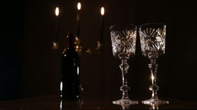 Romantic evening with wine. stock video footage