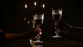 Romantic evening with wine. stock footage