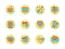Romantic event flat color round icons Stock Photos