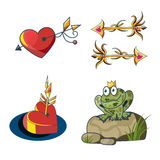 Romantic fairytale set with a princess frog, golden arrows and h Royalty Free Stock Photo