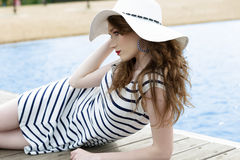 Romantic fashion girl in vacation Royalty Free Stock Photos