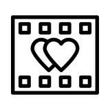 Romantic film strip icon. Romantic film strip thin line  icon Stock Photo