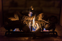 Romantic fire in fireplace Stock Photo