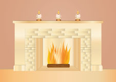 Romantic fire place Stock Photo