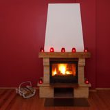 Romantic fireplace at home Stock Image