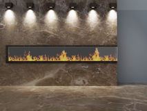 Romantic fireplace. Romantic stone fireplace wall with lights Stock Image