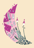Romantic flat in the moon city. Silhouette of fantasy fairy city in romantic district. Creative vector hand drawing Royalty Free Stock Image