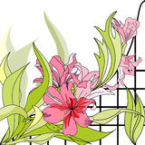 Romantic floral background. Universal template for greeting card, web page, background Stock Images