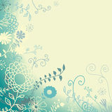 Romantic floral background. In  turquoise tones. Vector illustration Royalty Free Stock Photos