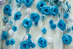Romantic floral background with blue paper flowers for wedding decor Stock Photography