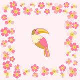 Romantic floral background. cartoon Rainbow Toucan bird. Romantic floral background. Flower. Funny cartoon Rainbow Toucan bird Stock Photography