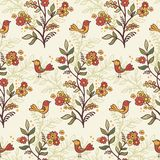 Romantic floral background with flowers and birds. Royalty Free Stock Images