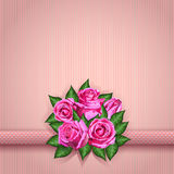 Romantic floral background with pink roses flowers. Vector eps10 Stock Images