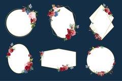 Romantic floral badge design illustrations royalty free illustration