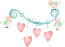Romantic floral with birds and hearts Stock Image