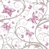 Romantic floral butterfly seamless pattern. Beautiful vector illustration, detailed drawing Royalty Free Stock Image